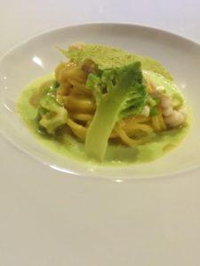 Fini Fini con arzilla e crema di broccolo romanesco